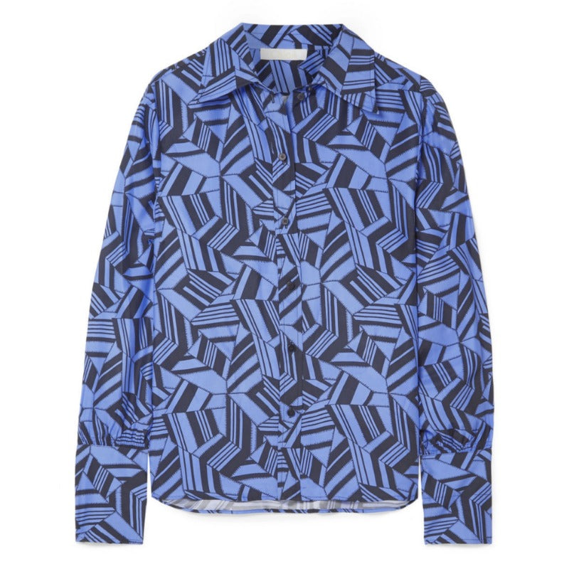 Chloé Blue / Black Geometric Print Silk Crepe De Chine Blouse