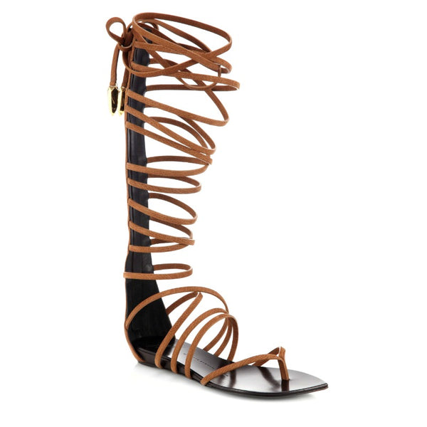 Giuseppe Zanotti Brown Lace Up Leather Gladiator Sandals