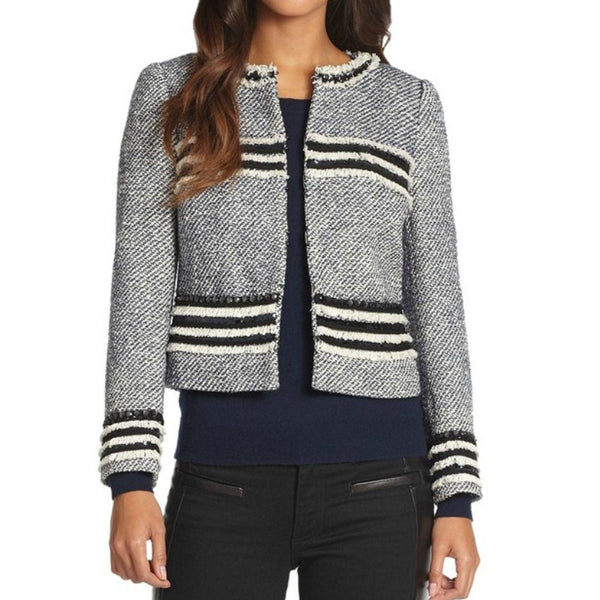 Tory Burch Tweed Navy Combo Rosemary Jacket