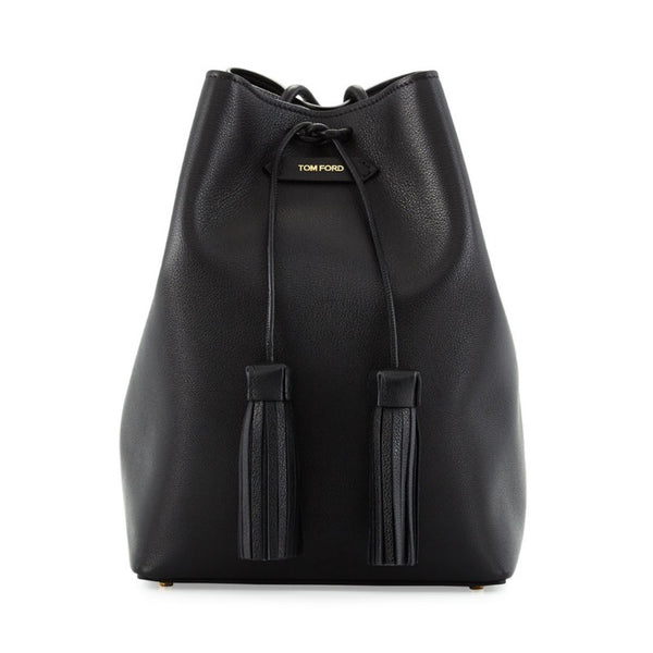 Tom Ford Double-tassel Medium Bucket Black Leather Bag