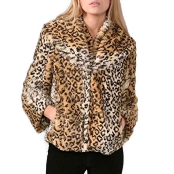 Alice + Olivia Leopard Print Faux Shawl Collar Coat