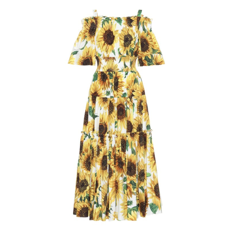 Dolce&Gabbana White Multi Sunflower Off The Shoulder Midi Dress
