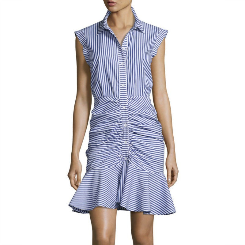 Veronica Beard Blue / White Bell Ruched Dress