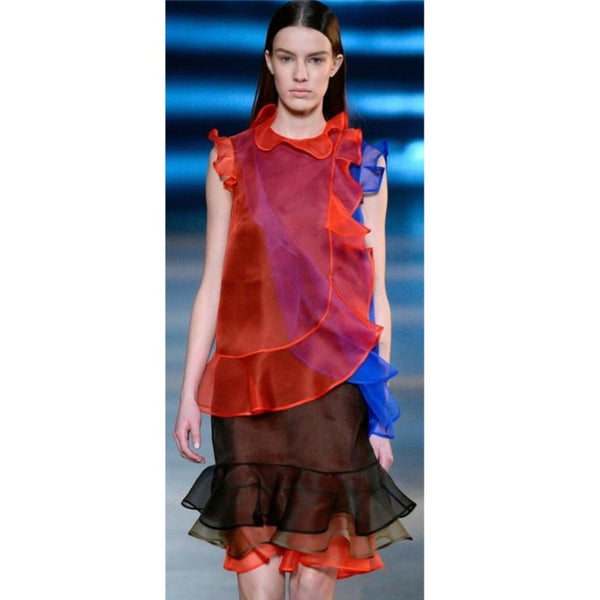 Christopher Kane Red / Black / Cobalt Tonal Organza Dress