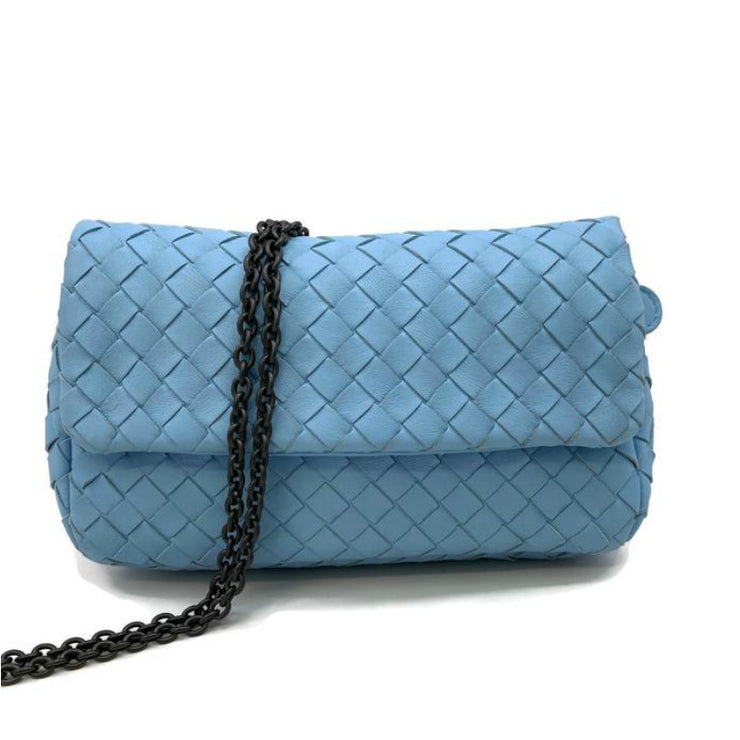 Bottega Veneta Light Blue Intrecciato Leather Cross-Body