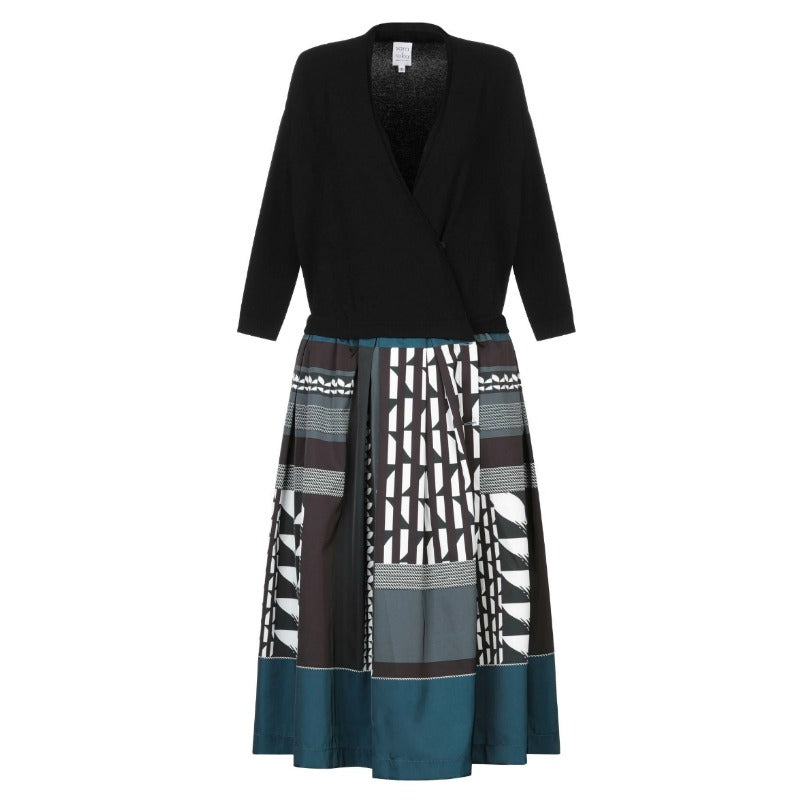 Sara Roka Deep Jade Multi Pattern Skirt Dress