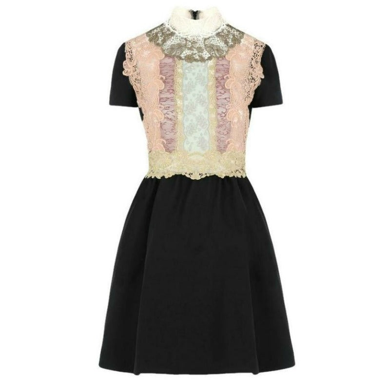 Valentino Black Lace Bib Cocktail Dress