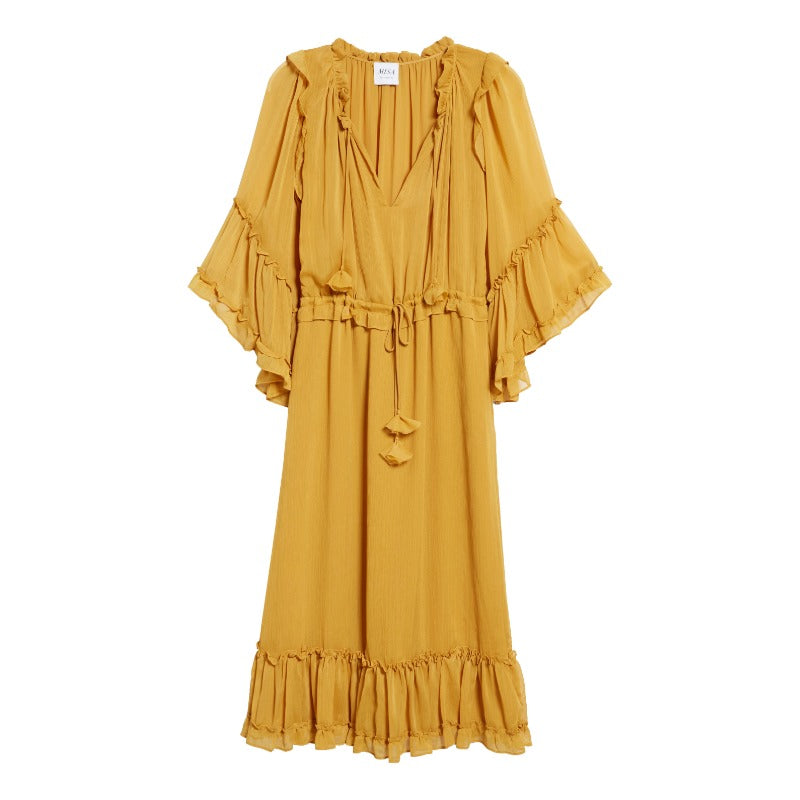 MISA Los Angeles Marigold Beliz Ruffle Tassel Tie Dress