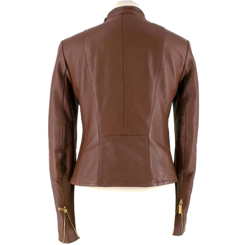 The Row Brown Brilly Leather Moto Jacket