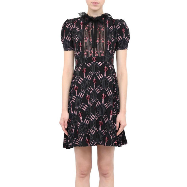 Valentino Black 2017 Love Blade Short Sleeve Dress