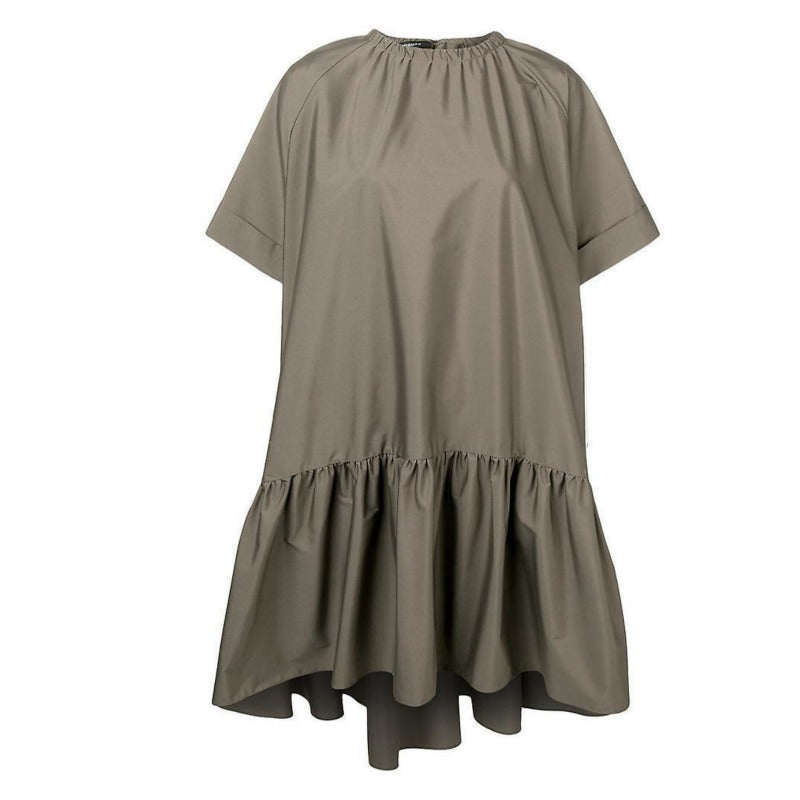 Rochas Khaki Tie Back Gathered Neck Dress