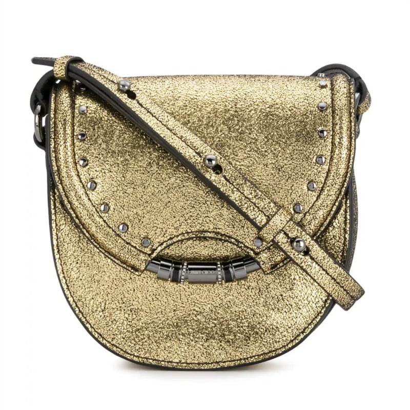 Jimmy Choo Chrissy Gold Leather Shoulder Bag