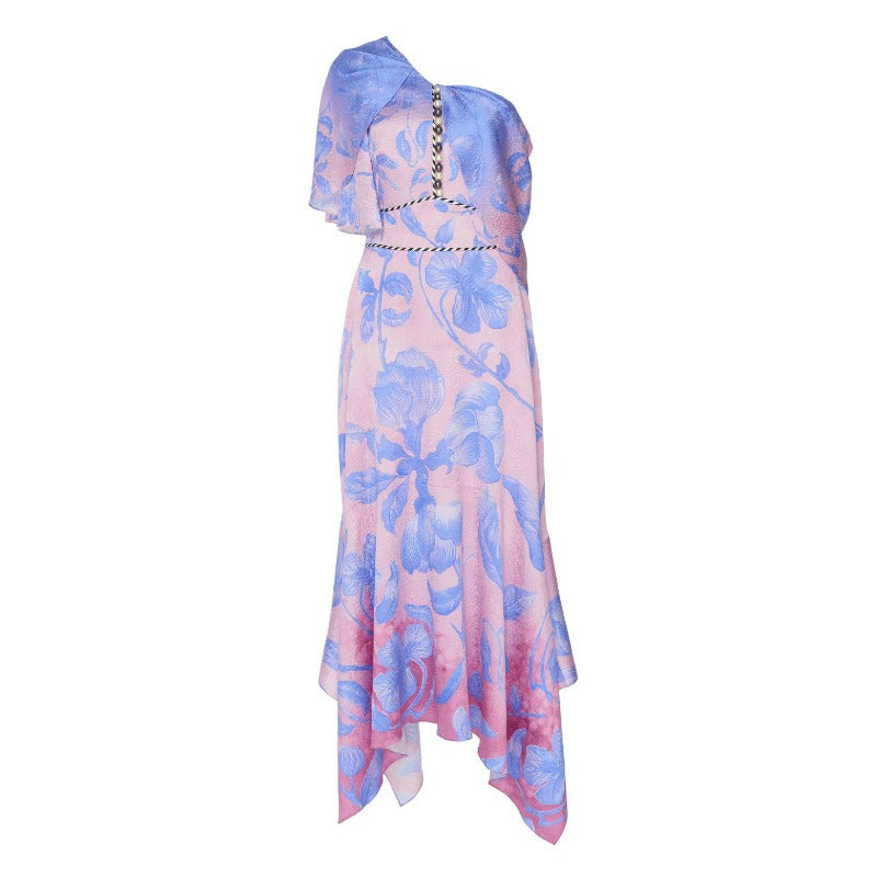 Peter Pilotto Pink / Blue Floral Asymmetric Midi Dress