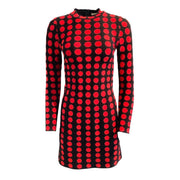 ALAÏA Red / Black Polka Dot Casual Dress