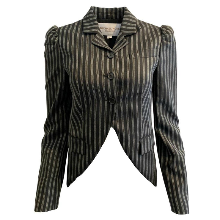Michael Kors Collection Black / Grey Striped Puff Sleeve Blazer
