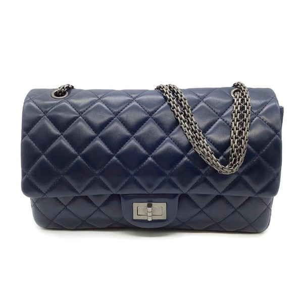Chanel Classic Flap 2.55 Reissue Navy Leather Shoulder Bag