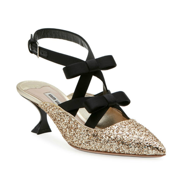 Miu Miu Gold / Black Glitter Bow Ankle Wrap Mule Pumps