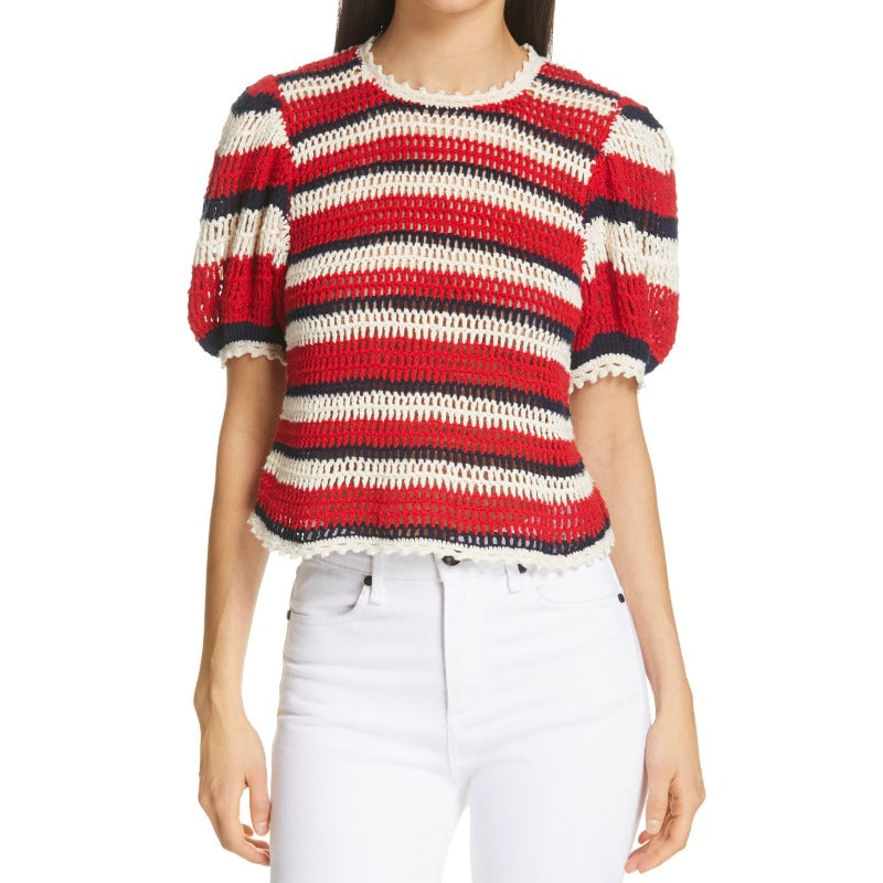 Ulla Johnson Amata Puff Sleeve Crocheted Red / White / Blue Sweater