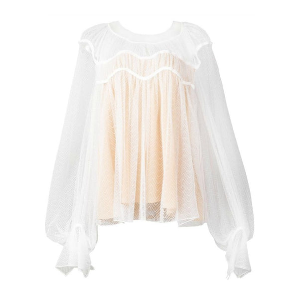 Chloé Milk Sheer Chevron Blouse