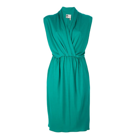 Lanvin Teal Sleeveless Draped Dress