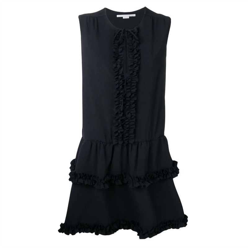 Stella McCartney Midnight Blue Ruffled Trim Dress