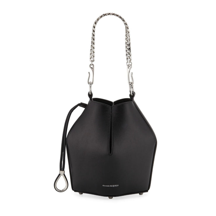 Alexander McQueen Bucket Small Black Leather Cross Body Bag