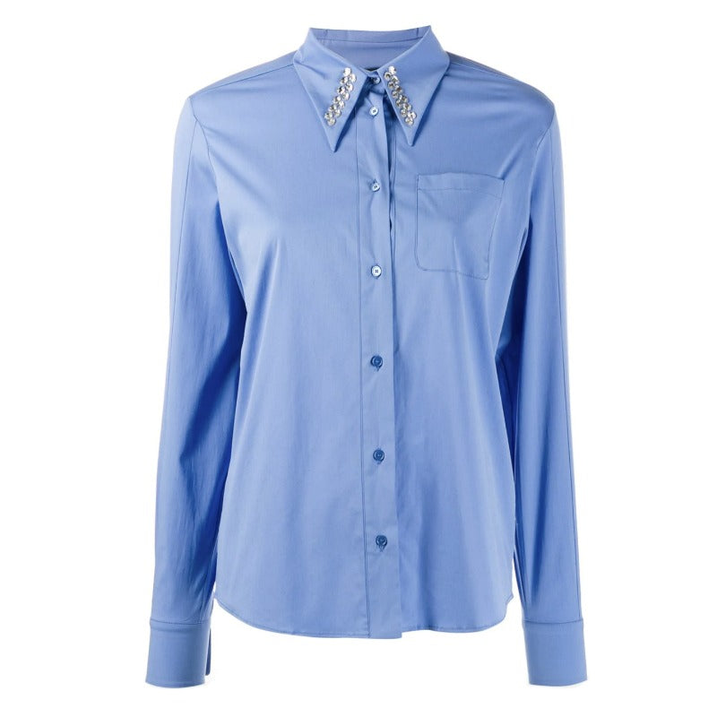 Rochas Blue Crystal Embellished Poplin Blouse