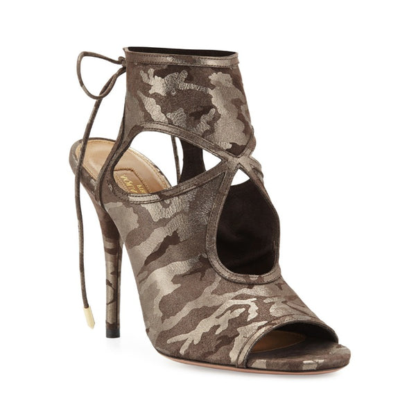 Aquazzura Metal Camoflage Sexy Thing Suede Cutout Sandal Pumps