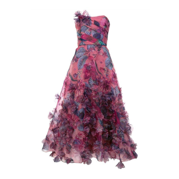 Marchesa Notte Dark Pink Strapless Formal Dress