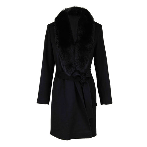 Fleurette Black Wrap with Fox Collar Coat