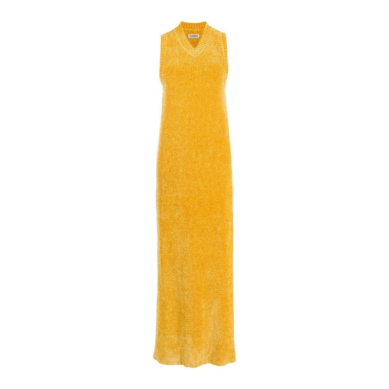Jil Sander Gold Sleeveless Velvet Knitted Casual Maxi Dress