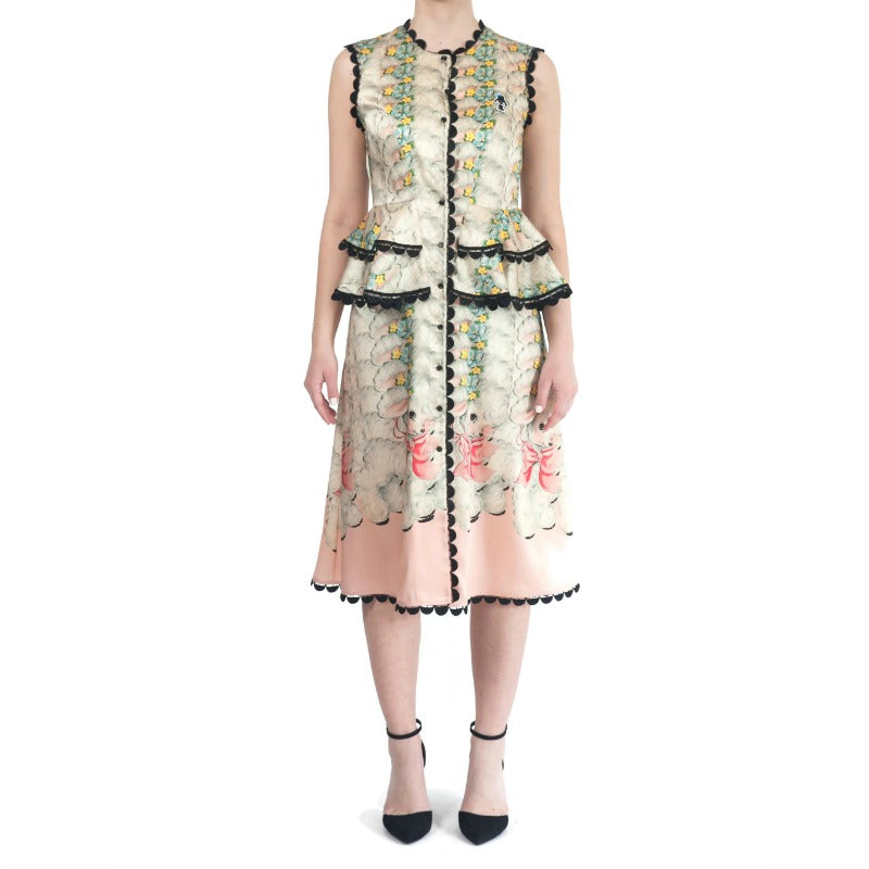 Marco de Vincenzo Pink Multi Abito Twill Animal Dress