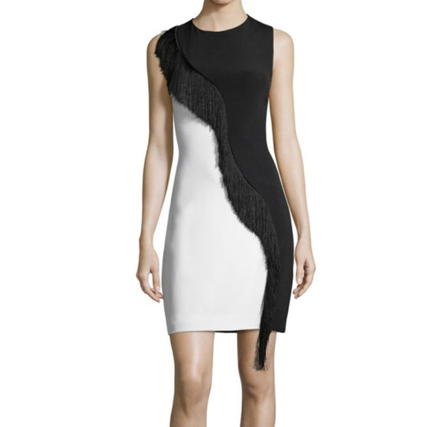 Cushnie et Ochs Black / White Sleeveless Mini with Asymmetrical Fringe Dress