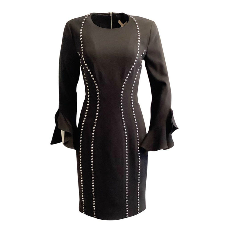 Michael Kors Collection Black Studded Cocktail Dress