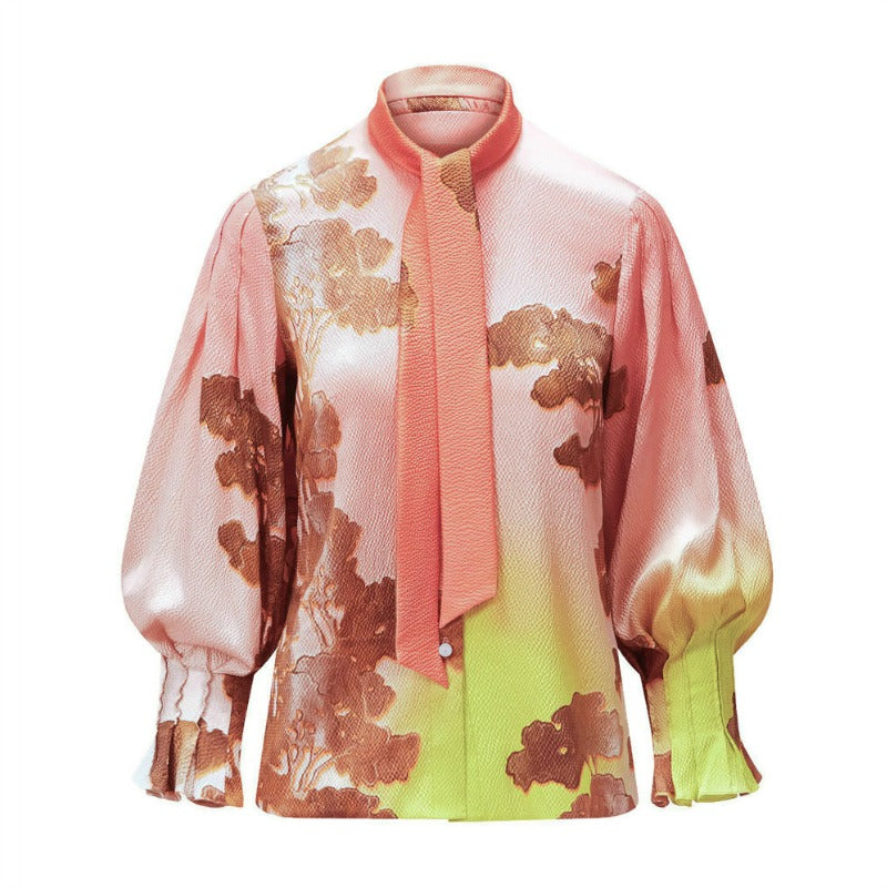 Peter Pilotto Horizon Hammered Silk Tie Blouse