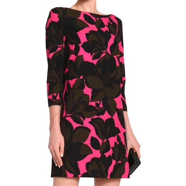 MILLY Magenta/Black/Brown Twiggy Floral Dress