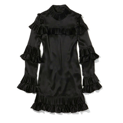 FRAME Black Mock Neck Ruffle Mini Dress