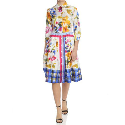 Sarah Roka White Multi Floral Dina Short Casual Dress