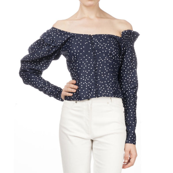 Magda Butrym Navy Vannes Off Shoulder Blouse