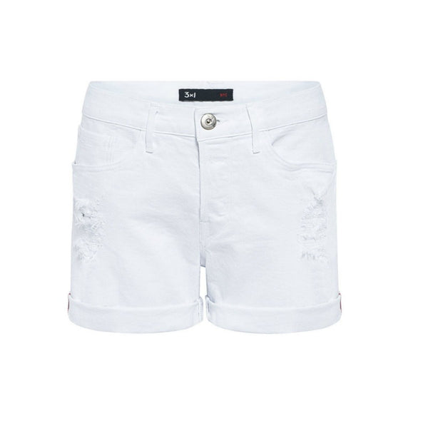 3X1 White Stone Ripper W2 Boyfriend Shorts