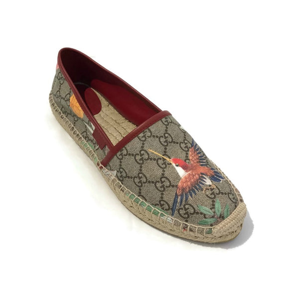 Gucci Beige Tian Leather-trimmed Printed Coated Canvas Espadrilles