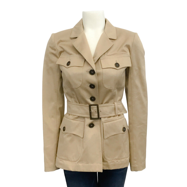 ALAÏA Beige Belted Safari Jacket