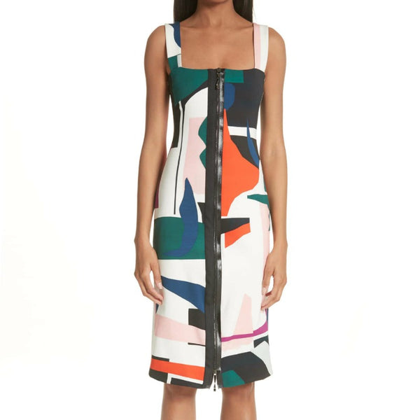 Cushnie et Ochs Expressionist Print Sleeveless Pencil Dress
