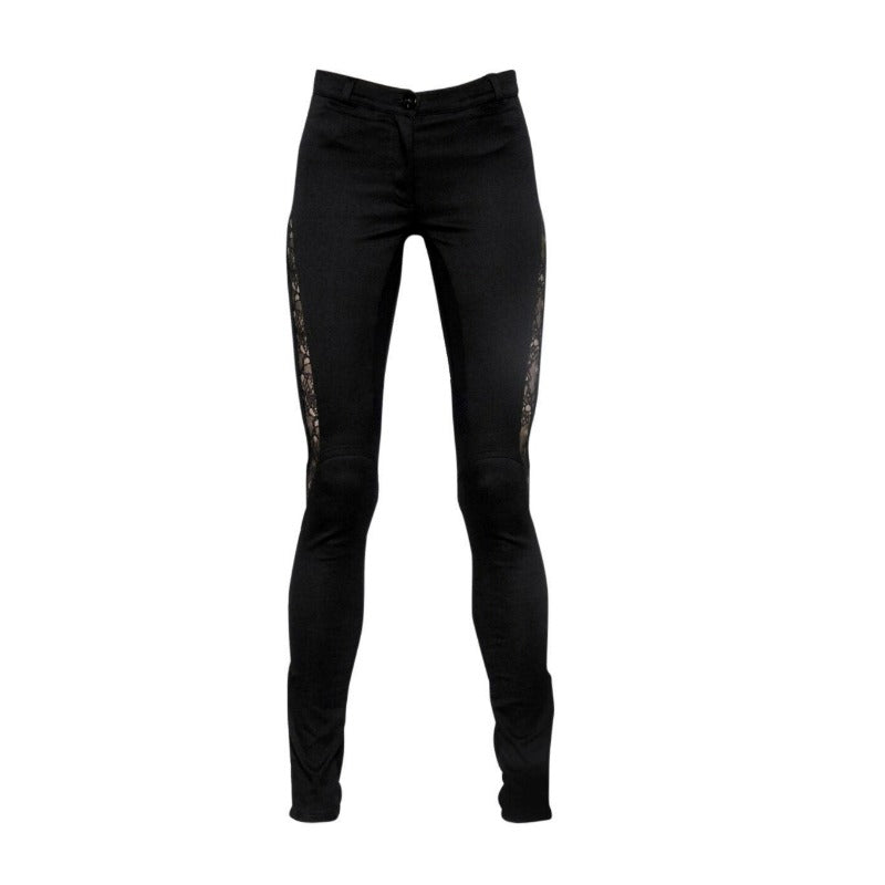 Versace Black Skinny Stretch with Lace Inserts Pants