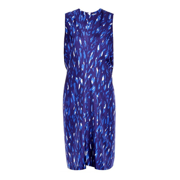 Balenciaga Blue Abstract Print Dress