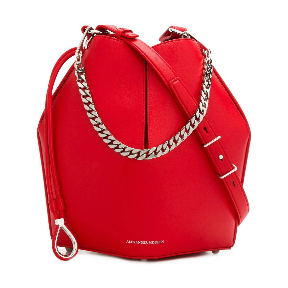 Alexander McQueen Bucket Red Leather Cross Body Bag