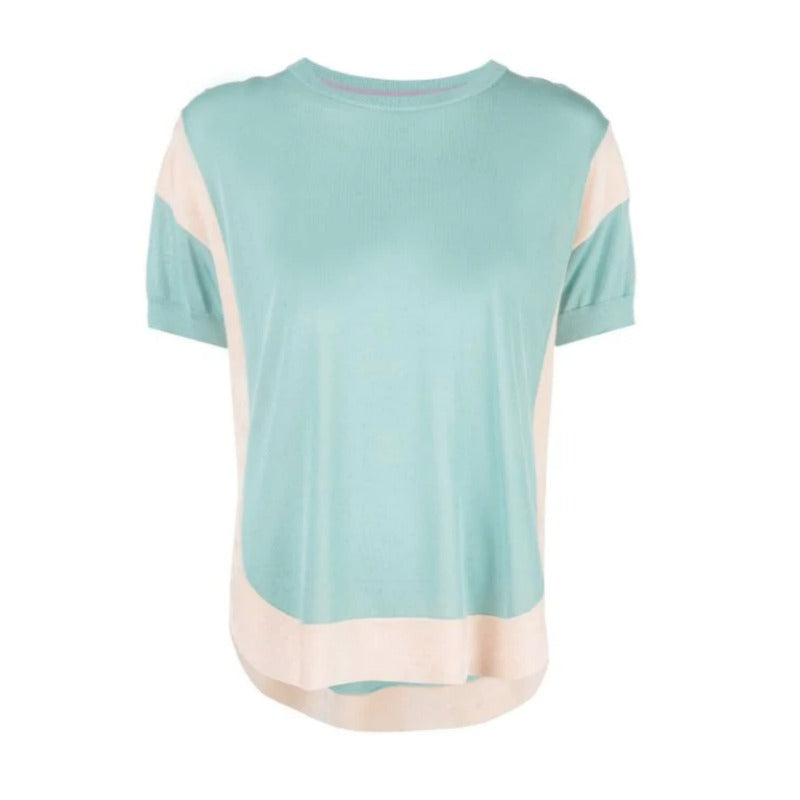 Tsumori Chisato Contrast Flared Aqua and Peach Sweater