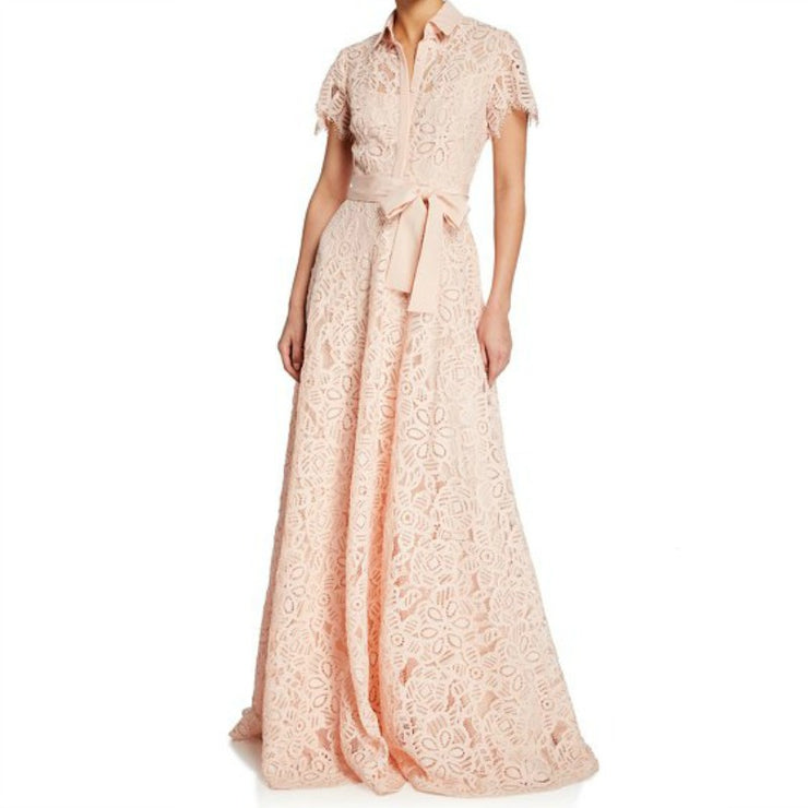 Lela Rose Corded Lace Flutter Sleeve Gown