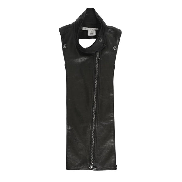 Veronica Beard Black Leather Moto Zip Dickey