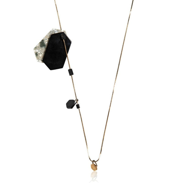Lanvin Gold / Black Jasper Stone Necklace